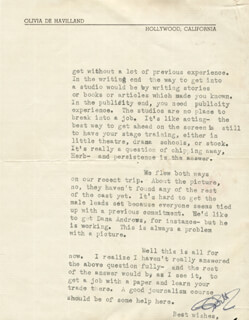 OLIVIA DE HAVILLAND - TYPED LETTER SIGNED