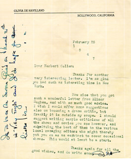 OLIVIA DE HAVILLAND - TYPED LETTER SIGNED 02/25/1947