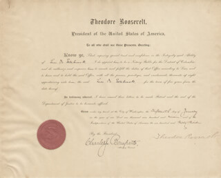 Autographs: PRESIDENT THEODORE ROOSEVELT - CIVIL APPOINTMENT SIGNED 01/15/1909 CO-SIGNED BY: CHARLES J. BONAPARTE