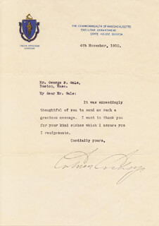 PRESIDENT CALVIN COOLIDGE - TYPED LETTER SIGNED 11/04/1920