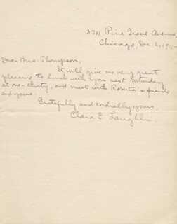 CLARA E. LAUGHLIN - AUTOGRAPH LETTER SIGNED 12/02/1911