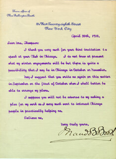 Autographs: MAUD BALLINGTON BOOTH - TYPED LETTER SIGNED 04/20/1910