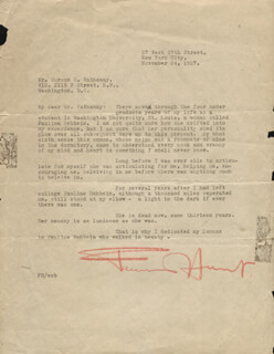 FANNIE HURST - TYPED LETTER SIGNED 11/24/1927