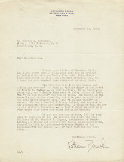KATHARINE BRUSH - TYPED LETTER SIGNED 11/25/1927