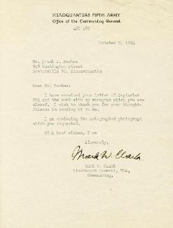 Autographs: GENERAL MARK W. CLARK - TYPED LETTER SIGNED 10/09/1944