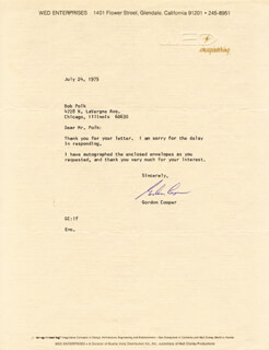 COLONEL GORDON COOPER JR. - TYPED LETTER SIGNED 07/24/1975