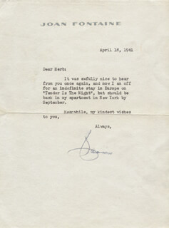 JOAN FONTAINE - TYPED LETTER SIGNED 04/18/1961