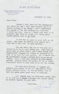 JOAN FONTAINE - TYPED LETTER SIGNED 11/17/1954