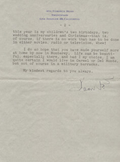 JOAN FONTAINE - TYPED LETTER SIGNED 11/03/1953