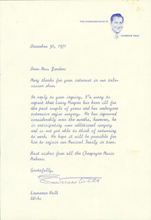 LAWRENCE WELK - TYPED LETTER SIGNED 12/30/1971