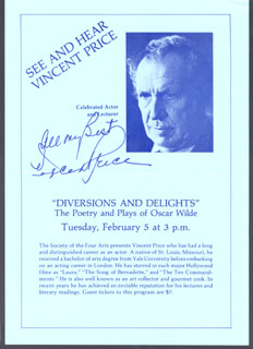 VINCENT PRICE - PAMPHLET SIGNED