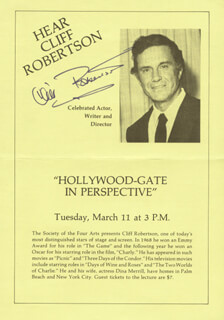 CLIFF ROBERTSON - PAMPHLET SIGNED
