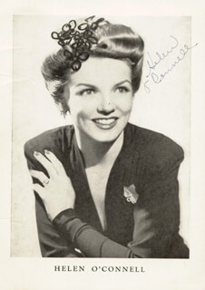 HELEN O'CONNELL - AUTOGRAPHED SIGNED PHOTOGRAPH