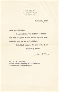 ANDREW MELLON - TYPED LETTER SIGNED 03/29/1934