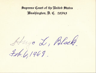 ASSOCIATE JUSTICE HUGO L. BLACK - SUPREME COURT CARD SIGNED 02/06/1968