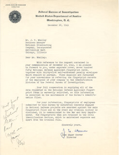 J. EDGAR HOOVER - TYPED LETTER SIGNED 12/22/1941  - HFSID 80977