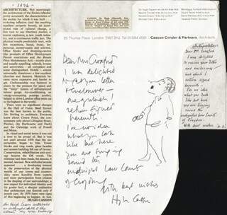 Autographs: HUGH CASSON - ORIGINAL ART ON AUTOGRAPH LETTER SIGNED