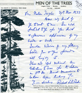 RICHARD ST. BARBE BAKER - AUTOGRAPH LETTER SIGNED 11/27/1973