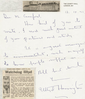 ILLTYD HARRINGTON - AUTOGRAPH LETTER SIGNED 10/12/1971