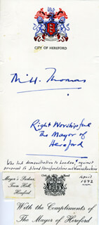 MAYOR M. HUGH THOMAS - AUTOGRAPH
