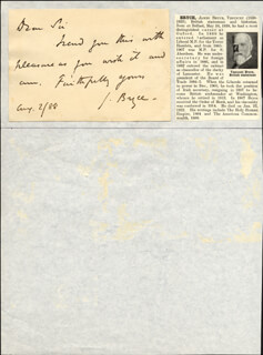Autographs: JAMES (1ST VISCOUNT BRYCE) BRYCE (BRITAIN) - AUTOGRAPH LETTER SIGNED 08/02/1888