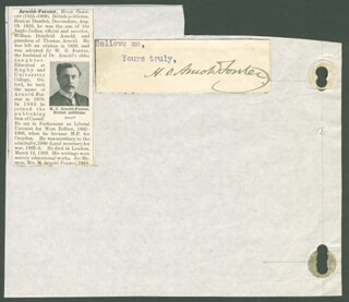H.O. ARNOLD-FORSTER - CLIPPED SIGNATURE