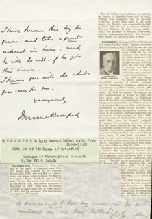 LORD MARCUS BERESFORD - AUTOGRAPH LETTER SIGNED
