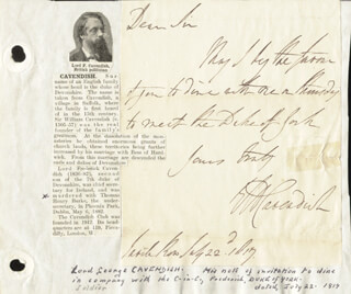 LORD GEORGE (1ST EARL OF BURLINGTON) CAVENDISH - AUTOGRAPH NOTE SIGNED 07/22/1817