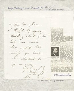 SPENCER COMPTON (8TH DUKE OF DEVONSHIRE) CAVENDISH - AUTOGRAPH LETTER SIGNED
