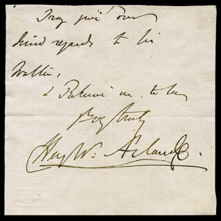 Autographs: SIR HENRY W. ACLAND - AUTOGRAPH SENTIMENT SIGNED