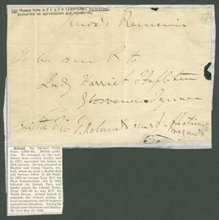 THOMAS DYKE (11TH BARONET) ACLAND - THIRD PERSON AUTOGRAPH NOTE