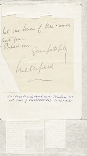 Autographs: EARL OF CHESTERFIELD X - AUTOGRAPH LETTER SIGNED 11/02/1904