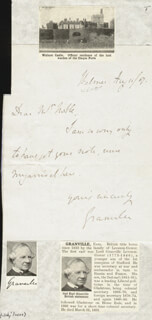Autographs: GRANVILLE (2ND EARL OF GRANVILLE) LEVESON-GOWER - AUTOGRAPH NOTE SIGNED 08/11/1867