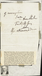 Autographs: EARL OF ELGIN VIII, EARL OF KINCARDINE XII (JAMES BRUCE) - AUTOGRAPH LETTER SIGNED 01/25/1862