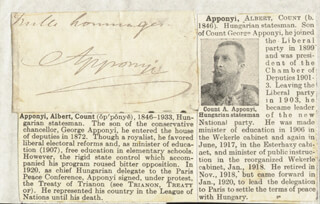 Autographs: COUNT ALBERT APPONYI - CLIPPED SIGNATURE