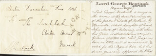 LORD GEORGE (WILLIAM GEORGE FREDERICK) BENTINCK - FREE FRANK SIGNED 12/01/1836