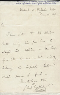 Autographs: LORD GEORGE (WILLIAM GEORGE FREDERICK) BENTINCK - AUTOGRAPH LETTER SIGNED 12/26/1846