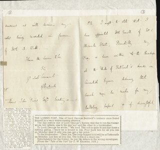Autographs: LORD GEORGE (WILLIAM GEORGE FREDERICK) BENTINCK - AUTOGRAPH LETTER SIGNED 11/22/1842