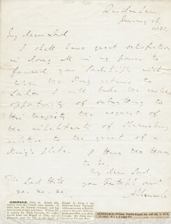 Autographs: EARL OF ALBEMARLE IV (WILLIAM CHARLES KEPPEL) - AUTOGRAPH LETTER SIGNED 01/16/1836