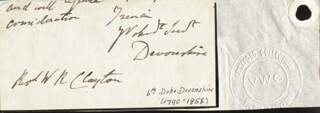 WILLIAM GEORGE SPENCER (6TH DUKE OF DEVONSHIRE) CAVENDISH - AUTOGRAPH FRAGMENT SIGNED