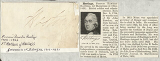Autographs: FRANCIS (MARQUESS OF HASTINGS I) RAWDON-HASTINGS - SIGNATURE(S)