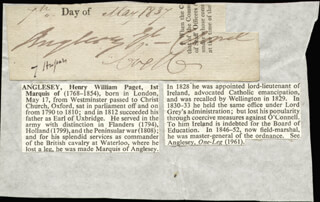 HENRY WILLIAM (1ST MARQUESS OF ANGLESEY) PAGET - CLIPPED SIGNATURE 05/09/1837