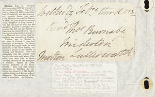 Autographs: GEORGE (17TH EARL OF MORTON) DOUGLAS - AUTOGRAPH ENVELOPE SIGNED 02/03/1832