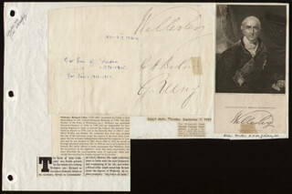 Autographs: RICHARD 1ST MARQUIS WELLESLEY WELLESLEY - SIGNATURE(S)