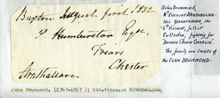 Autographs: VISCOUNT JAMES ANDREW JOHN LAURENCE CHARLES (8TH VISCOUNT STRATHALLAN) DRUMMOND - AUTOGRAPH ENVELOPE SIGNED 08/01/1832