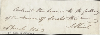 DUNBAR JAMES (EARL OF SELKIRK VI) DOUGLAS - AUTOGRAPH SENTIMENT SIGNED 03/31/1843