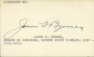 ASSOCIATE JUSTICE JAMES F. BYRNES - AUTOGRAPH