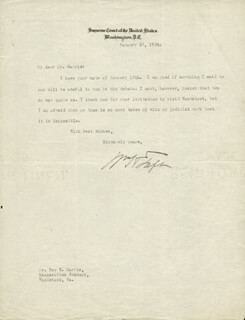 PRESIDENT WILLIAM H. TAFT - TYPED LETTER SIGNED 01/20/1924
