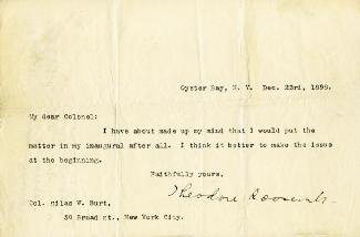 PRESIDENT THEODORE ROOSEVELT - TYPED LETTER SIGNED 12/23/1898