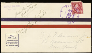 AMELIA M. EARHART - FIRST DAY COVER SIGNED CO-SIGNED BY: THOMAS H. DOC KINKADE, SIR GEORGE HUBERT WILKINS